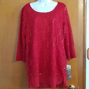 NWT JM Collection L lace/sequin high/low tunic
